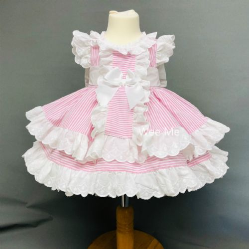 New Gorgeous Baby Girl Spanish Pink Puff Ball Stripe Dress